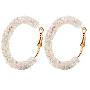 Jewelry - 🆕🌈 AB Clear Crystal Gold Hoop Circle Earrings